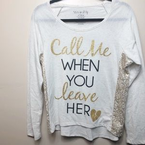 Wound Up Call Me When You Leave Her Long Tee XL